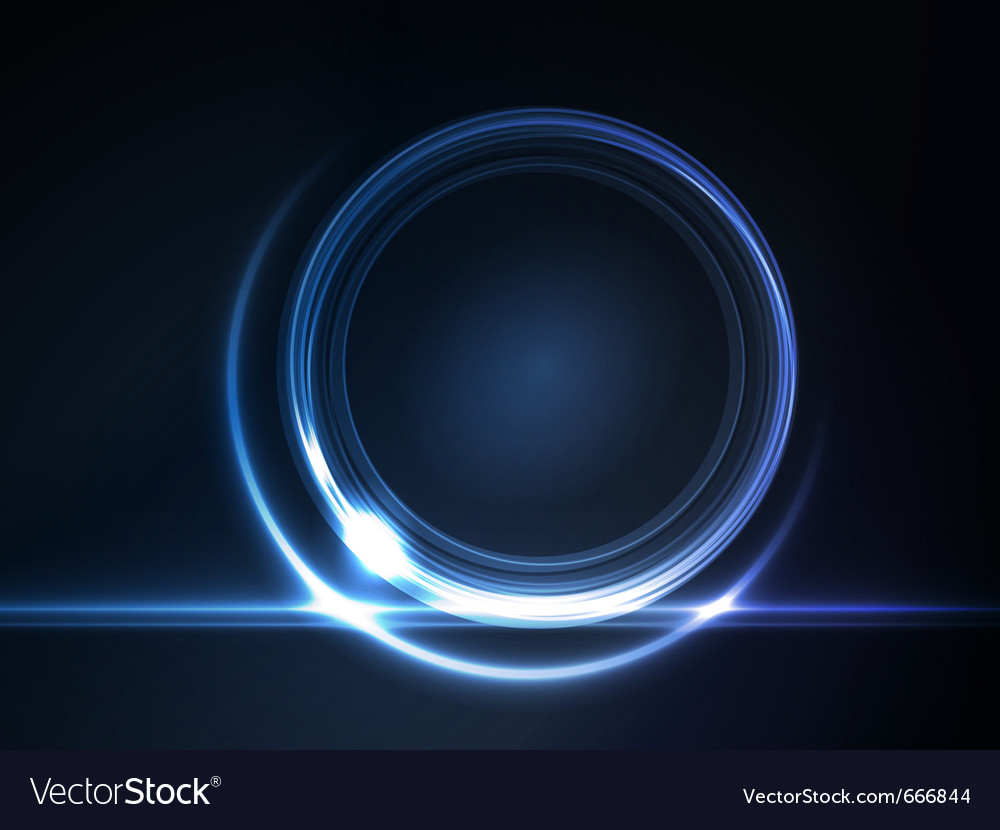 Blue glowing round frame vector