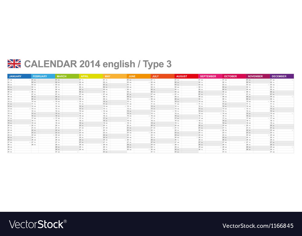 Calendar 2014 english type 3 vector