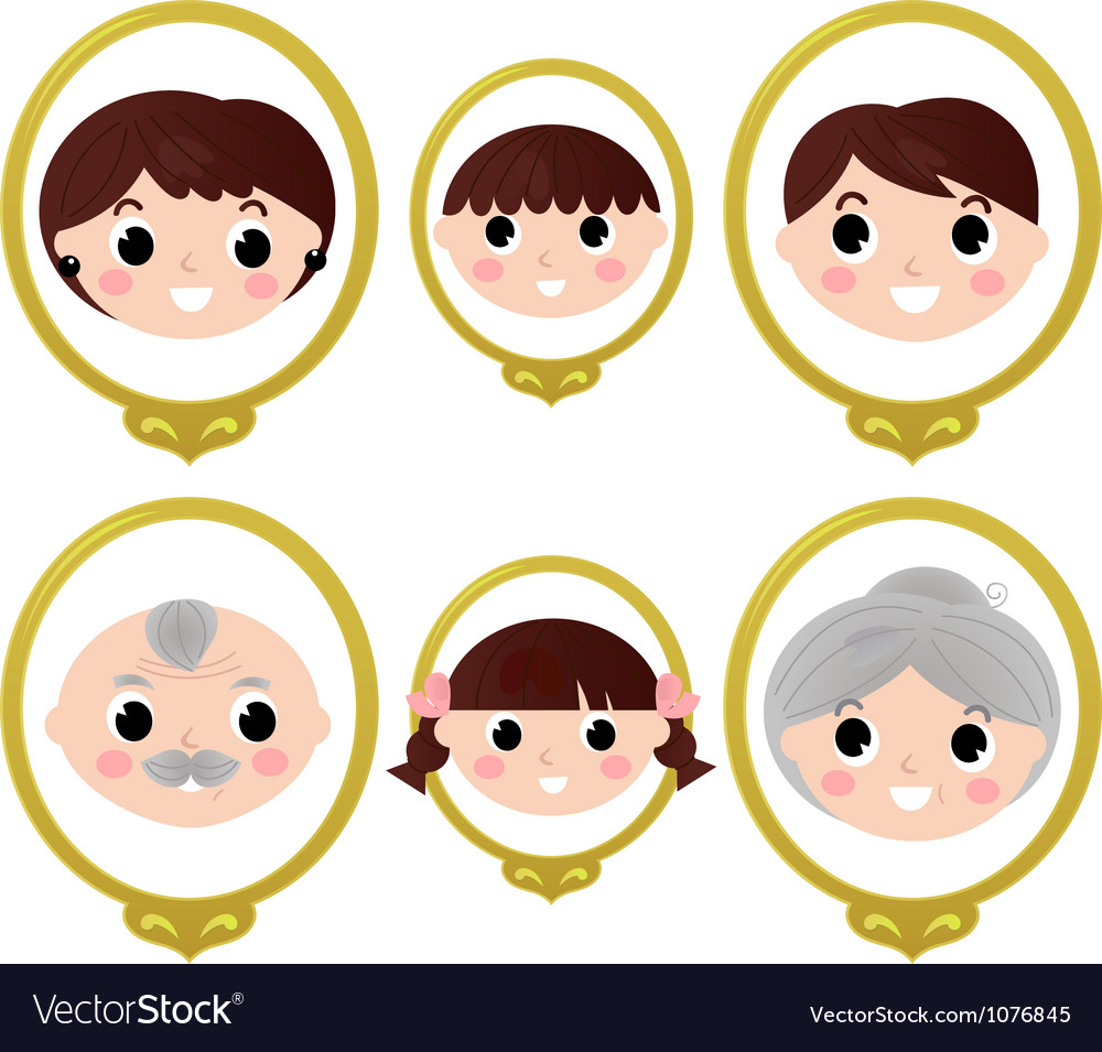 Family members vintage photos vector