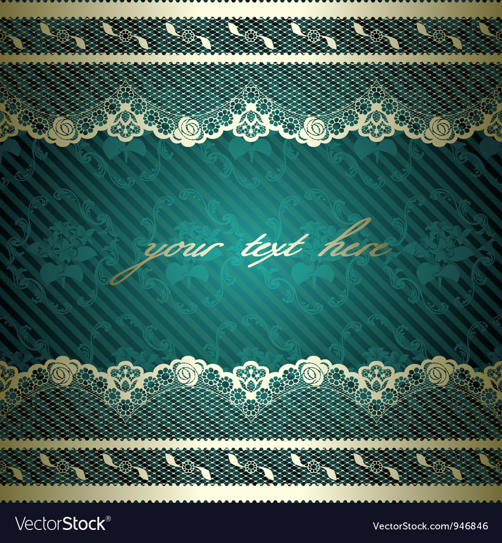 Lacy design on dark green vector