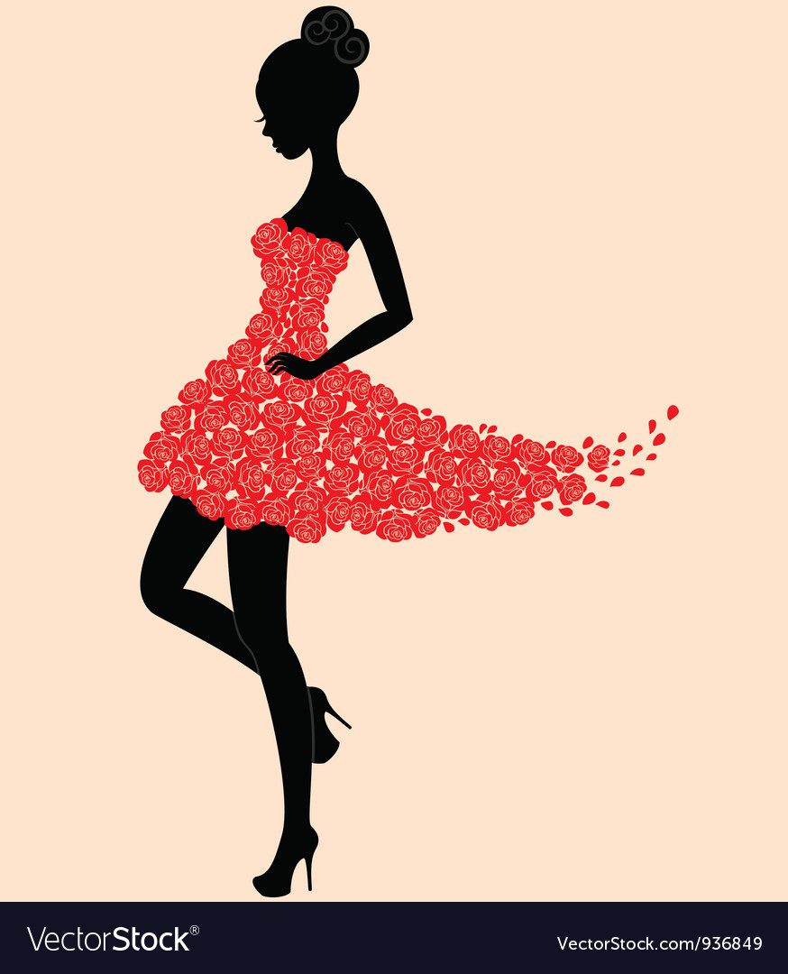 Dancer girl in dress of roses vector