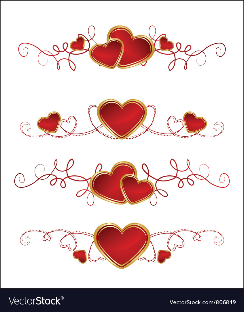 Floral and heart set vector