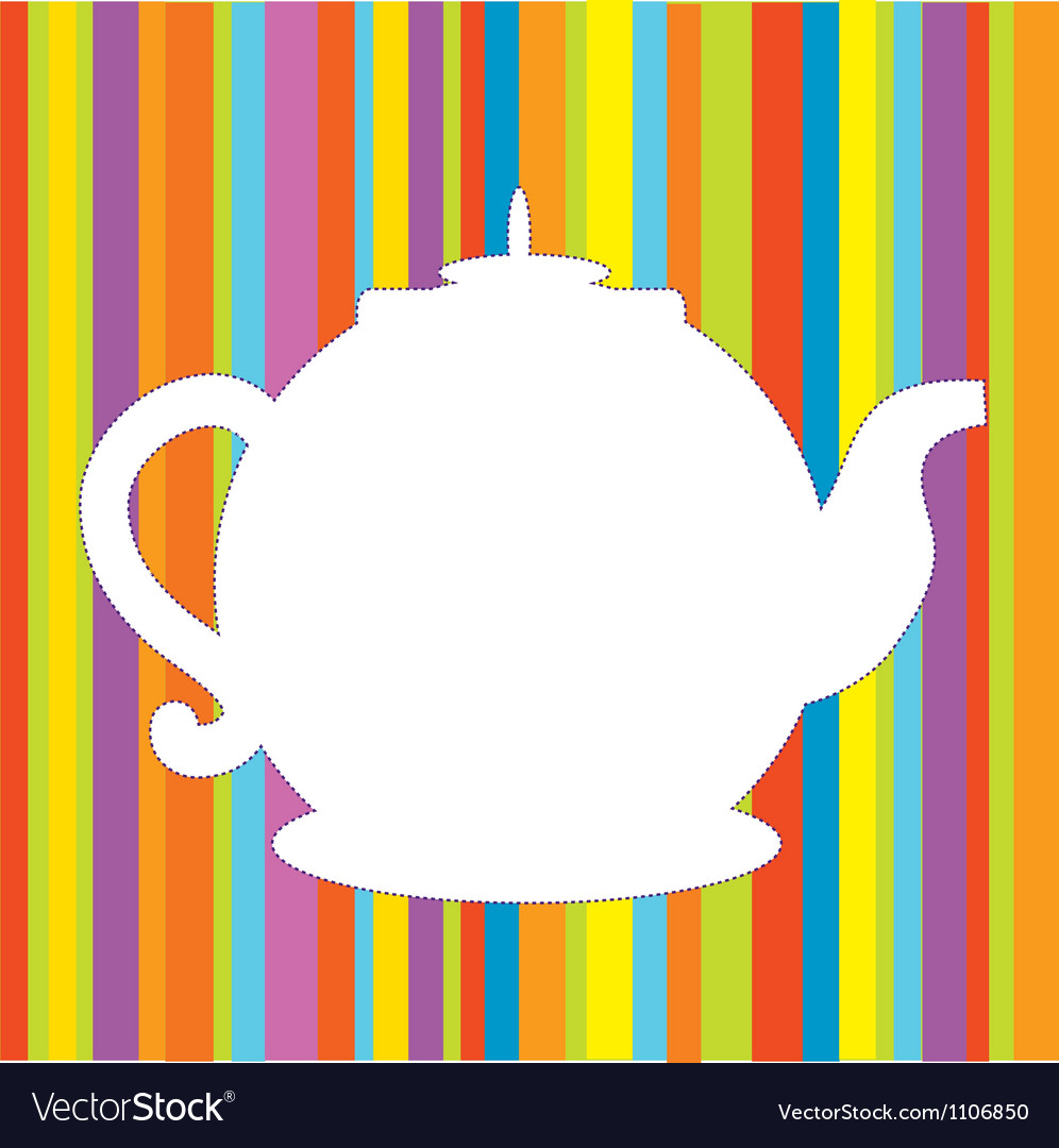 Tea pot menu funny background vector