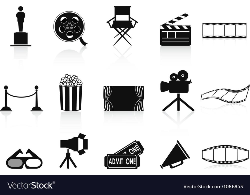 Black movies icons set vector