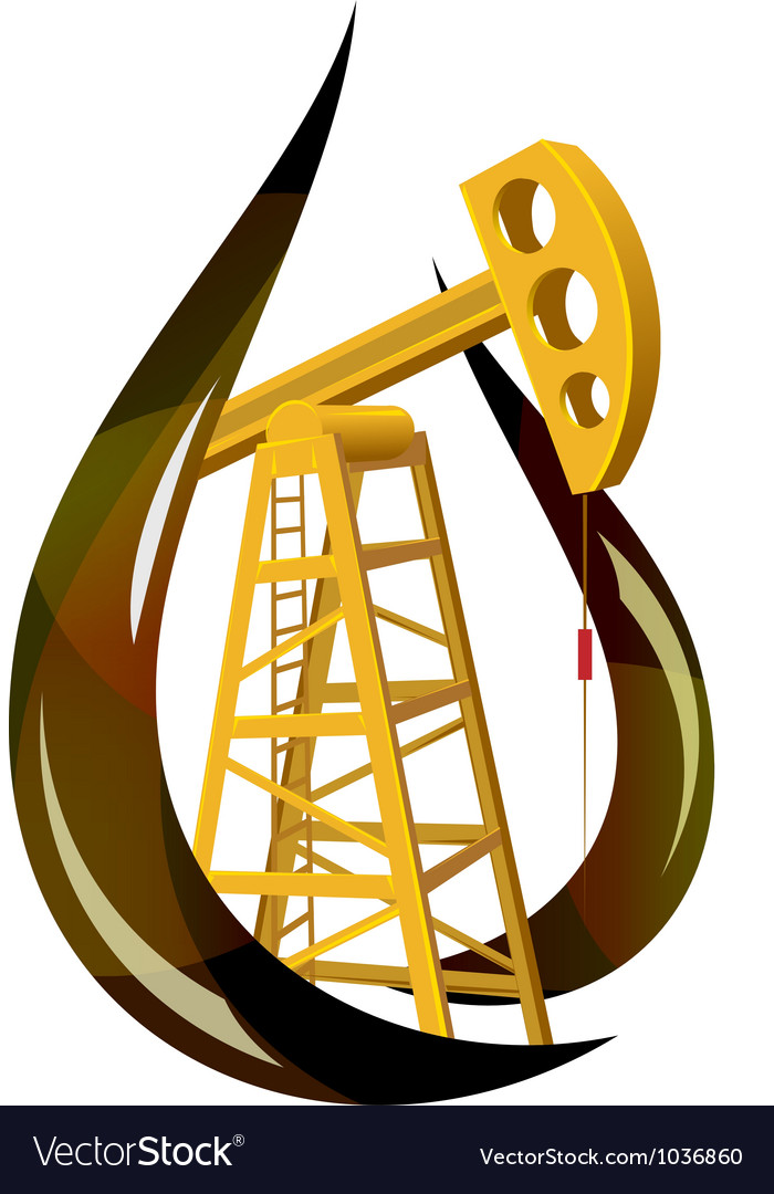Stylized drop of fossil oil and the pump inside vector