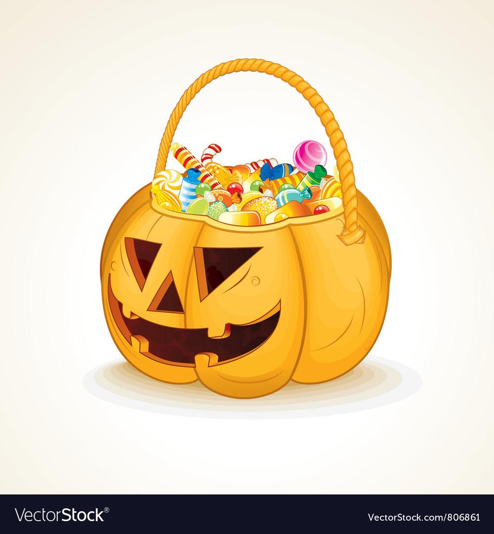 Halloween pumpkin with candies vector