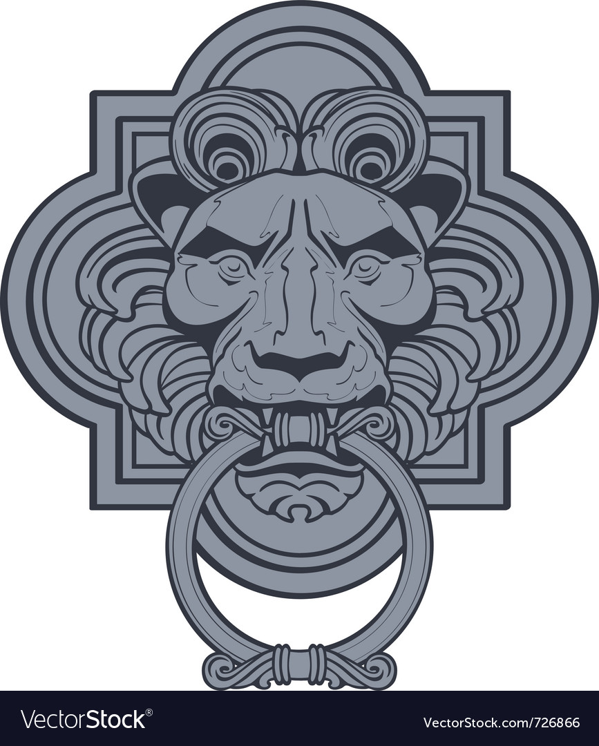 Lion head door knocker vector