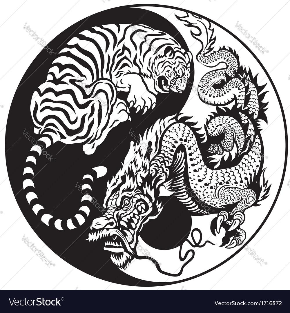 Yin yang dragon and tiger black white vector