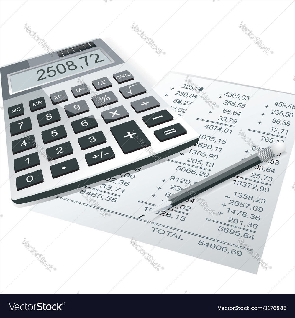 Financial charts and graphs on the table vector