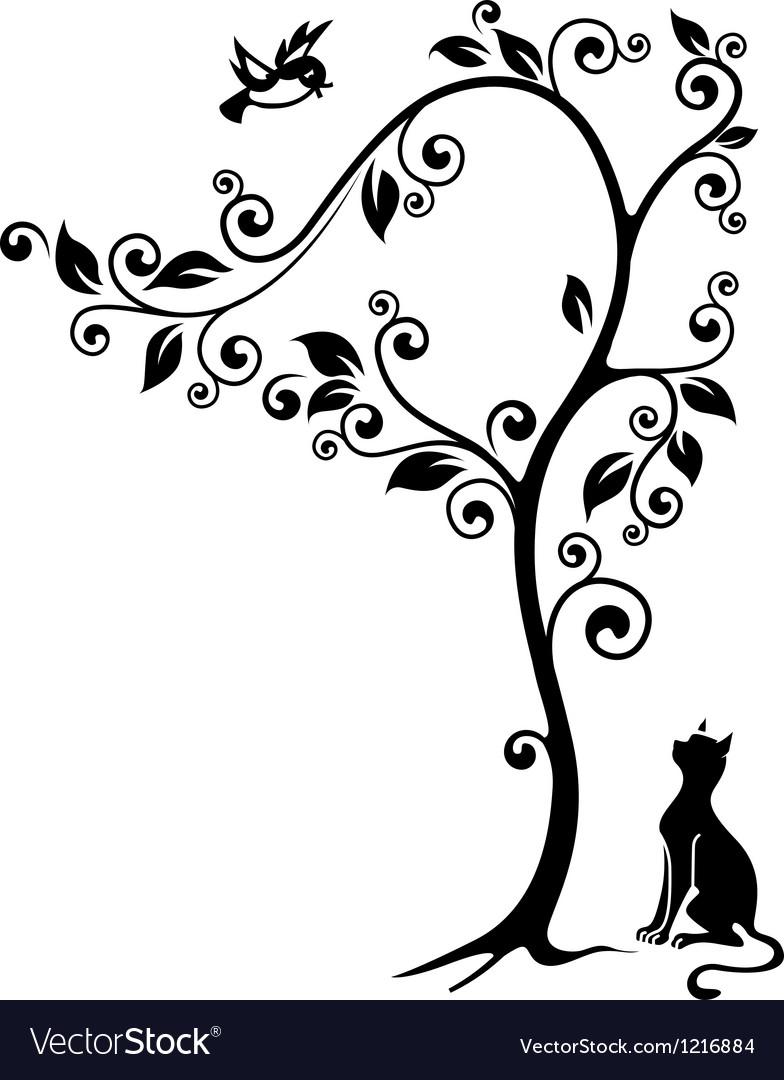 Cat under a tree vector