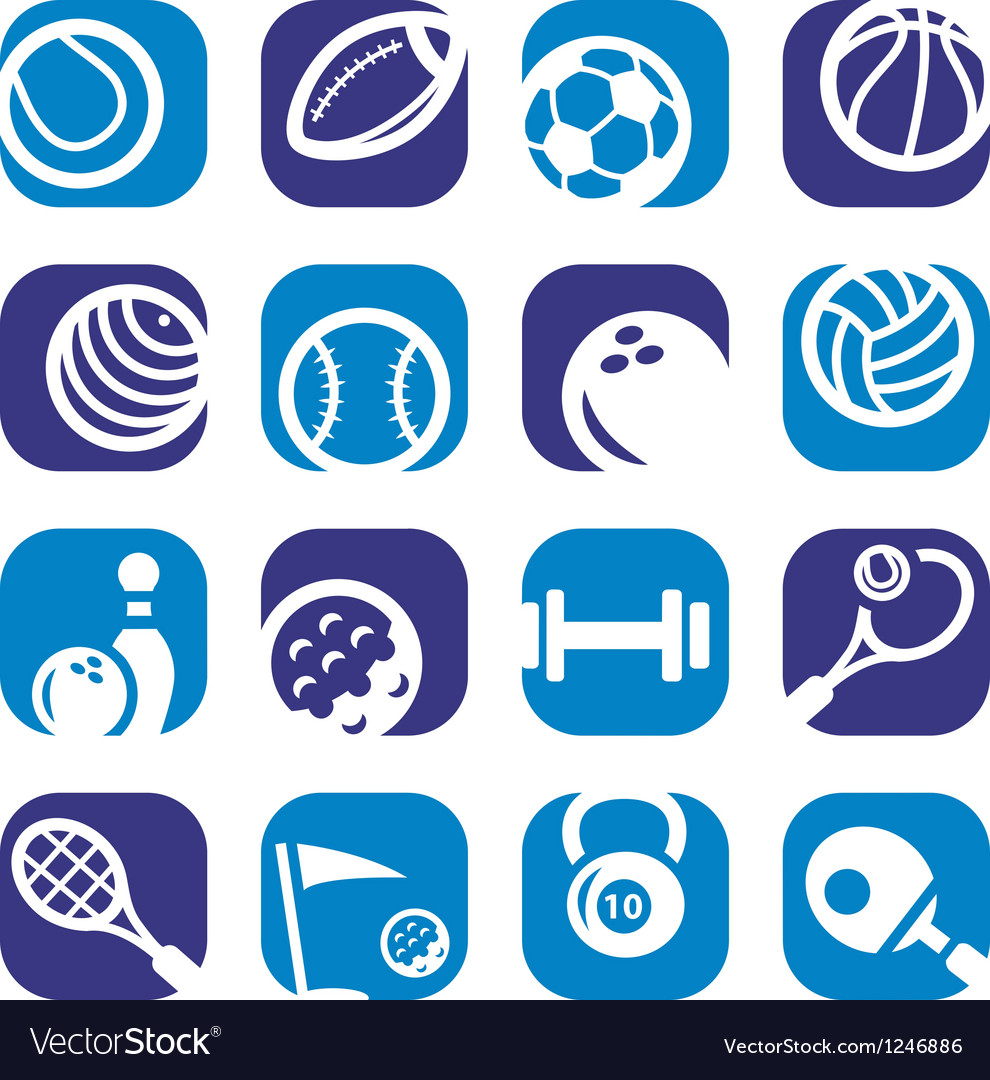 Color sports icons set vector