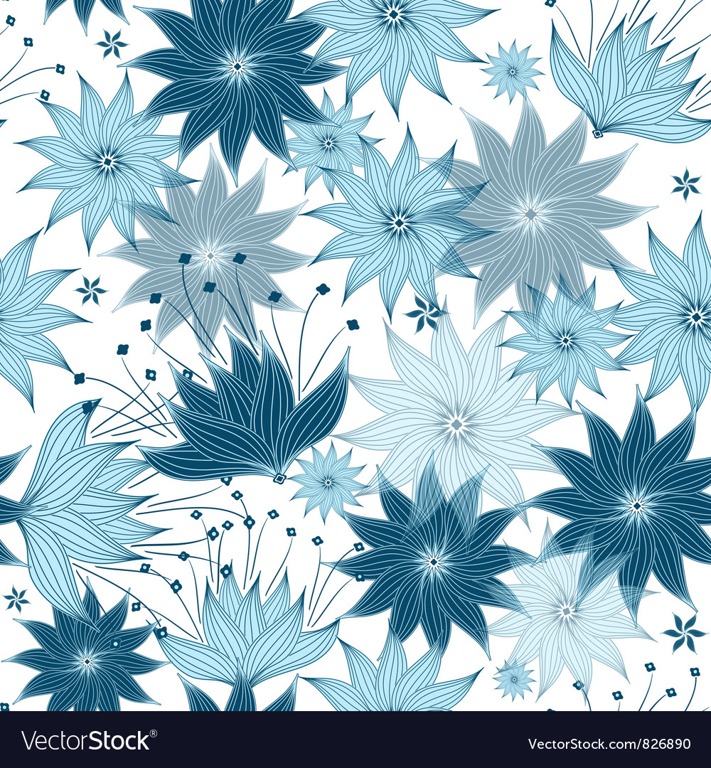 Free seamless white-blue floral pattern vector