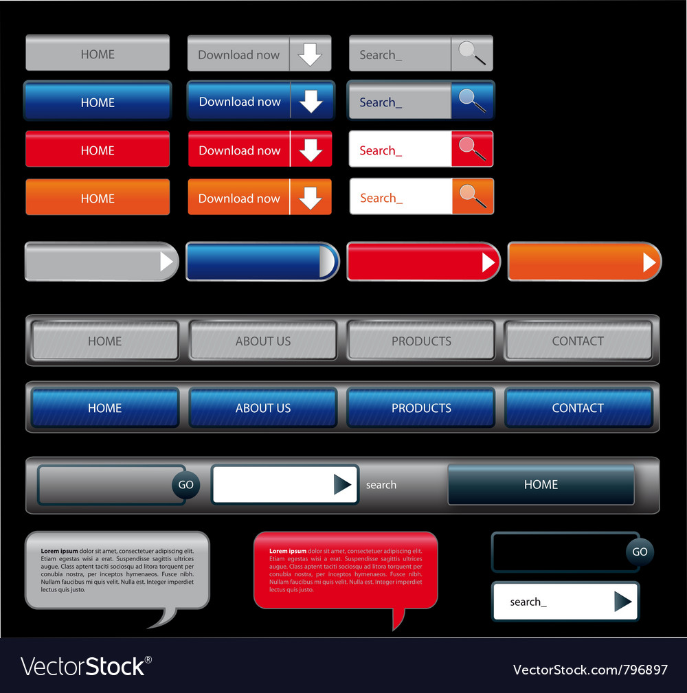 Button web set vector