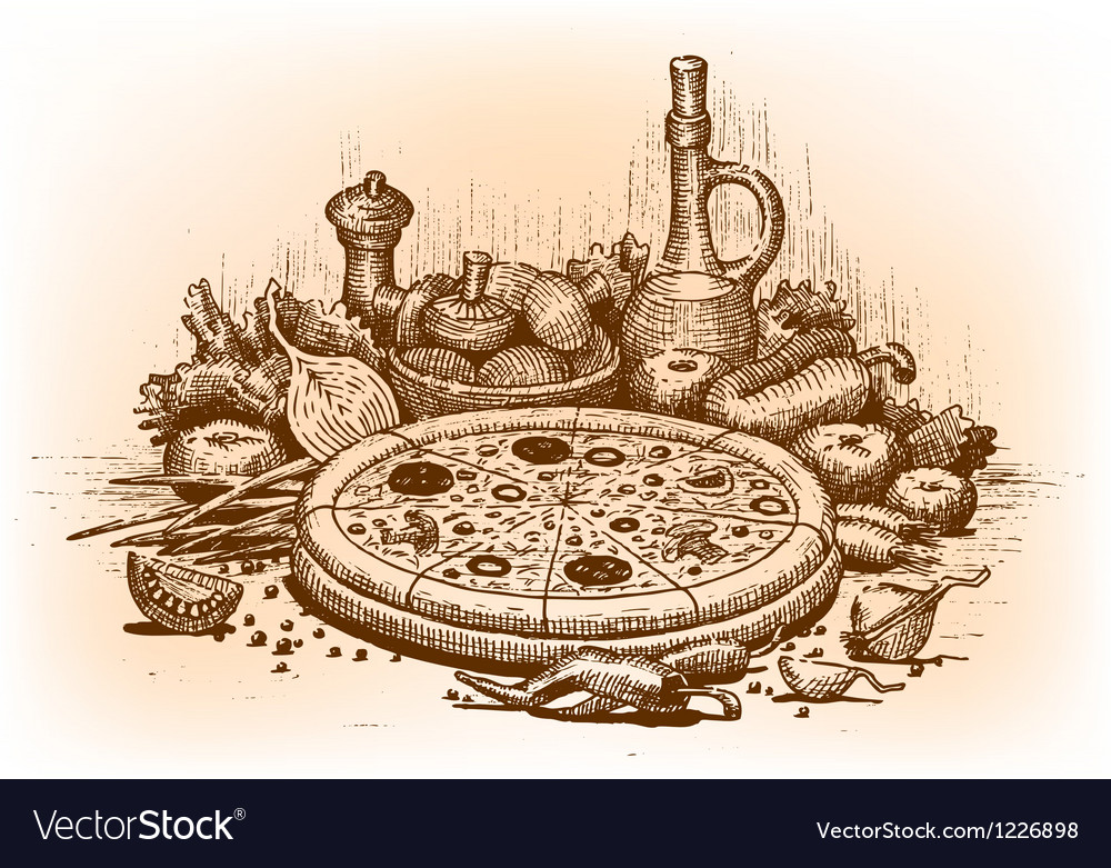 Pizza drawn by hand vector
