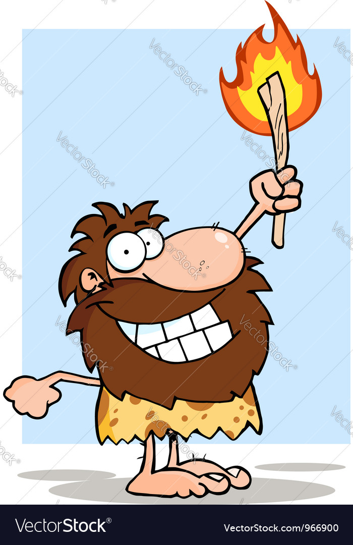 Smiling caveman holding up a torch vector