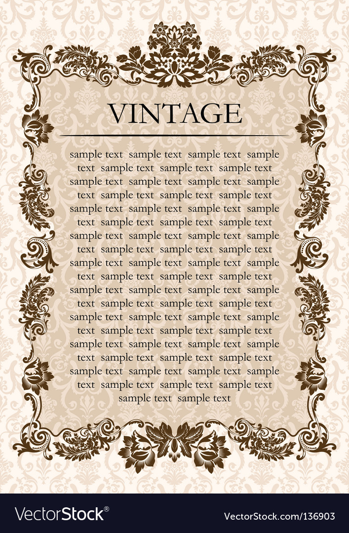 Vintage glamour frame decor vector