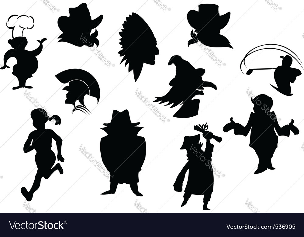 Set of cartoon silhouettes isolated on white backg vector