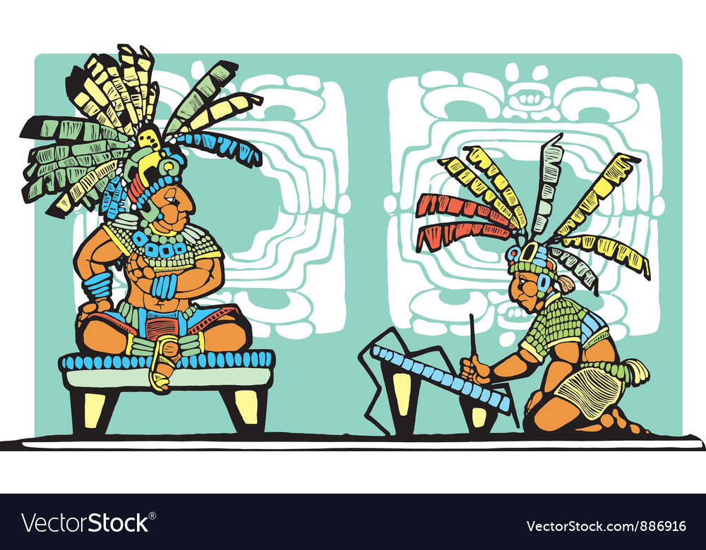 Mayan king and scribe vector