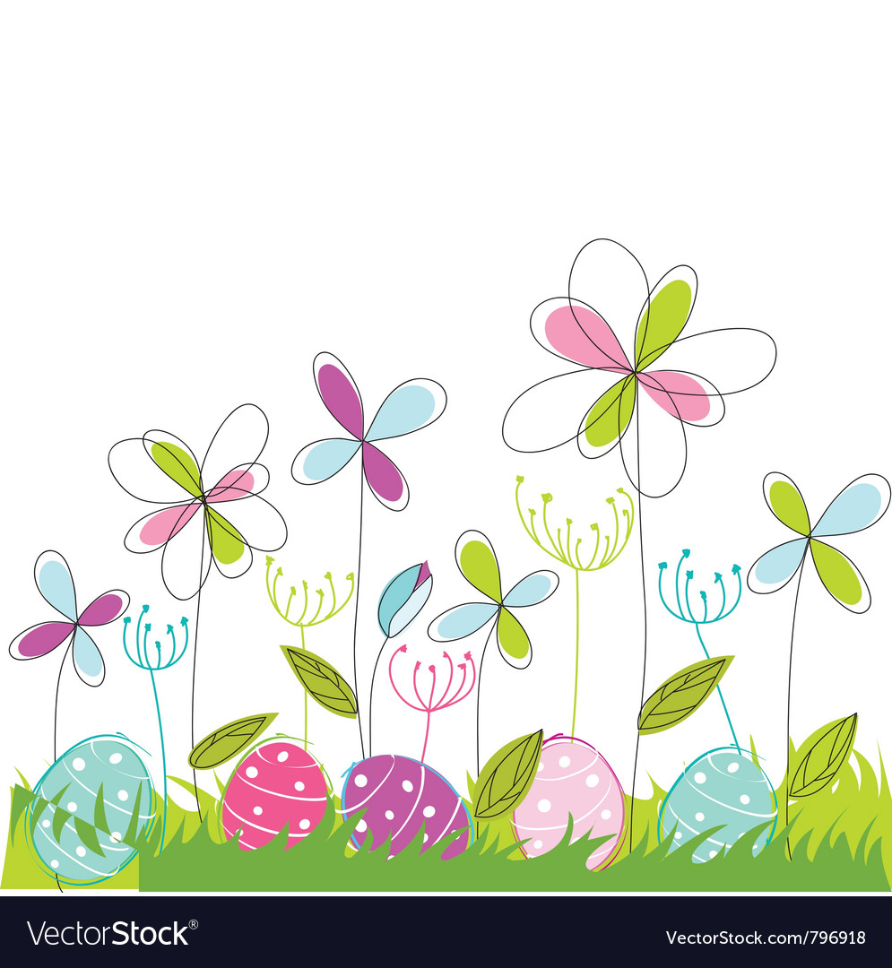 Floral easter greeting card vector