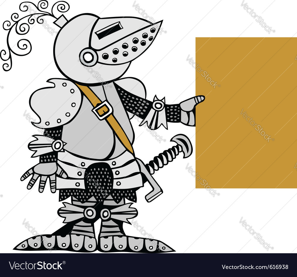 Knight with banner vector
