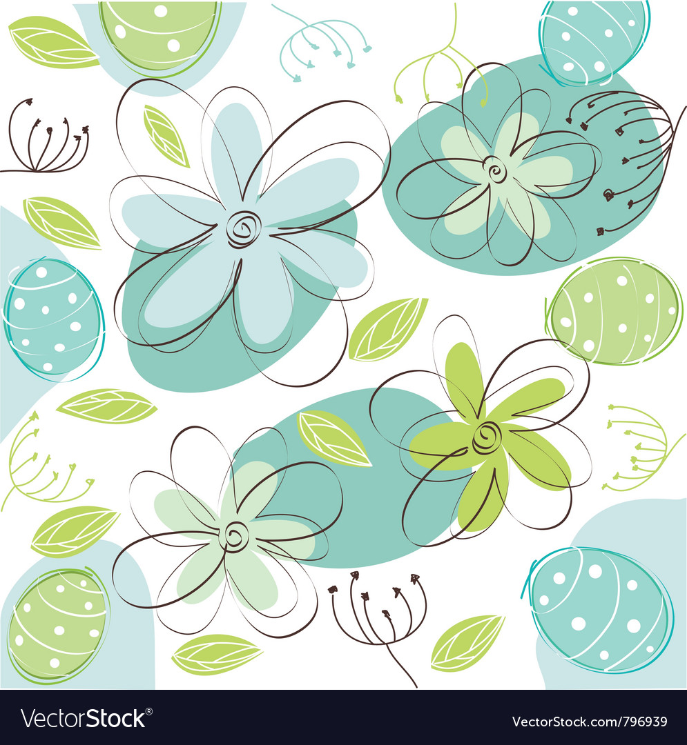 Floral easter card vector