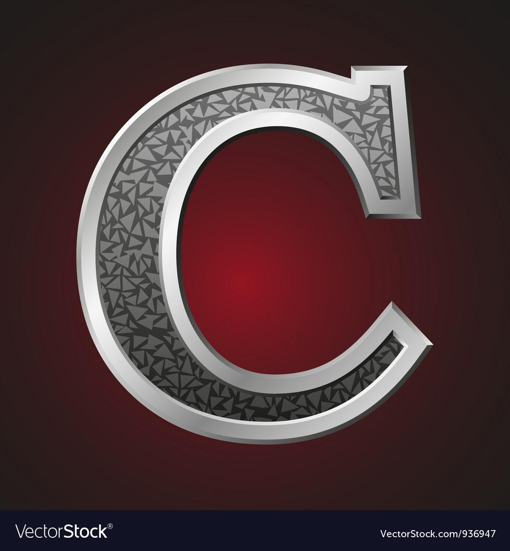 Metal letters c vector
