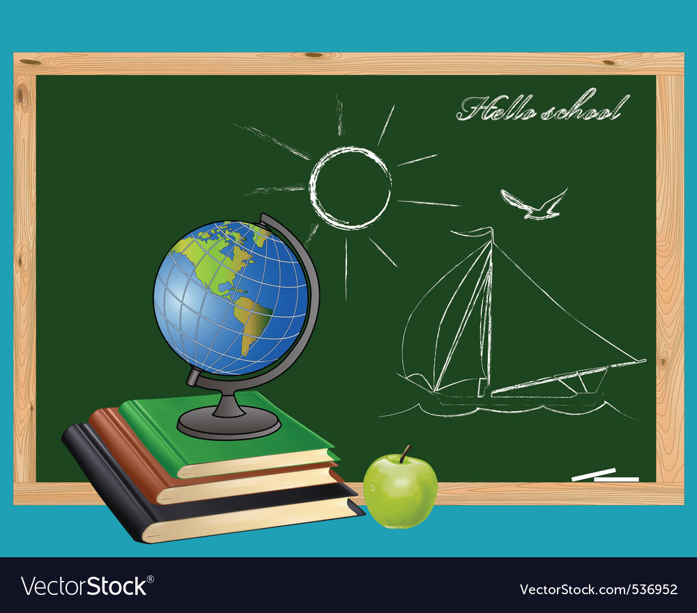 Globe books and green apple on the background of t vector
