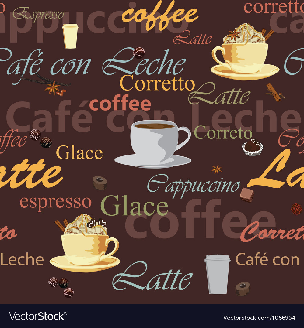 Seamless coffee theme vector