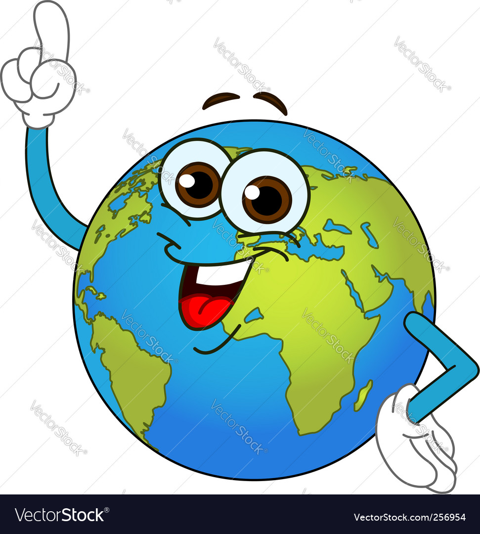 World globe cartoon vector
