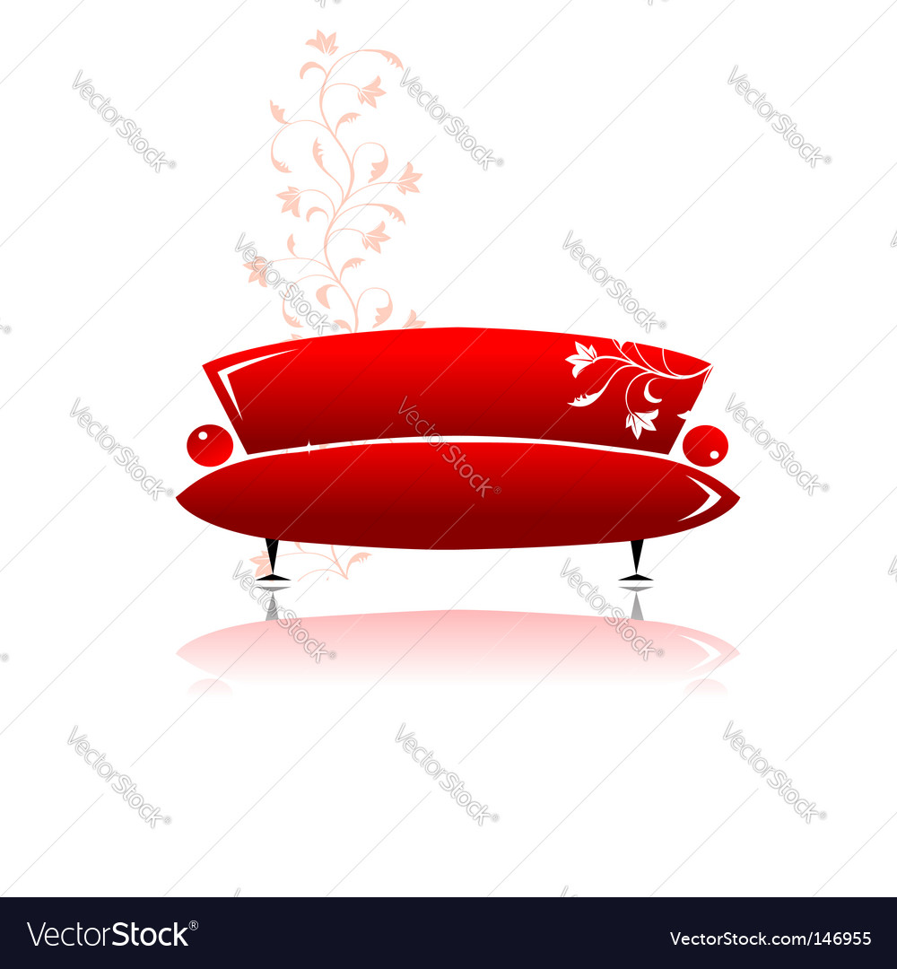 Red sofa design vector