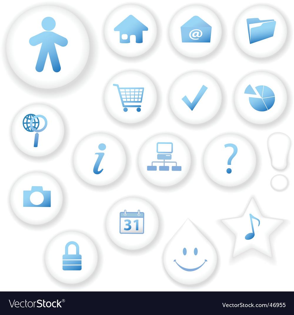 White on white button icons vector