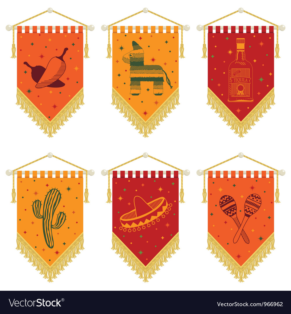 Mexican pennants vector