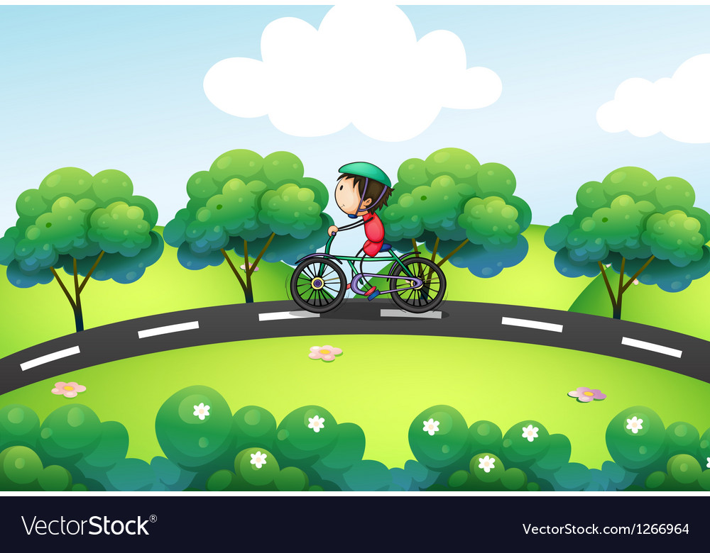 A boy riding in his bike at the street vector