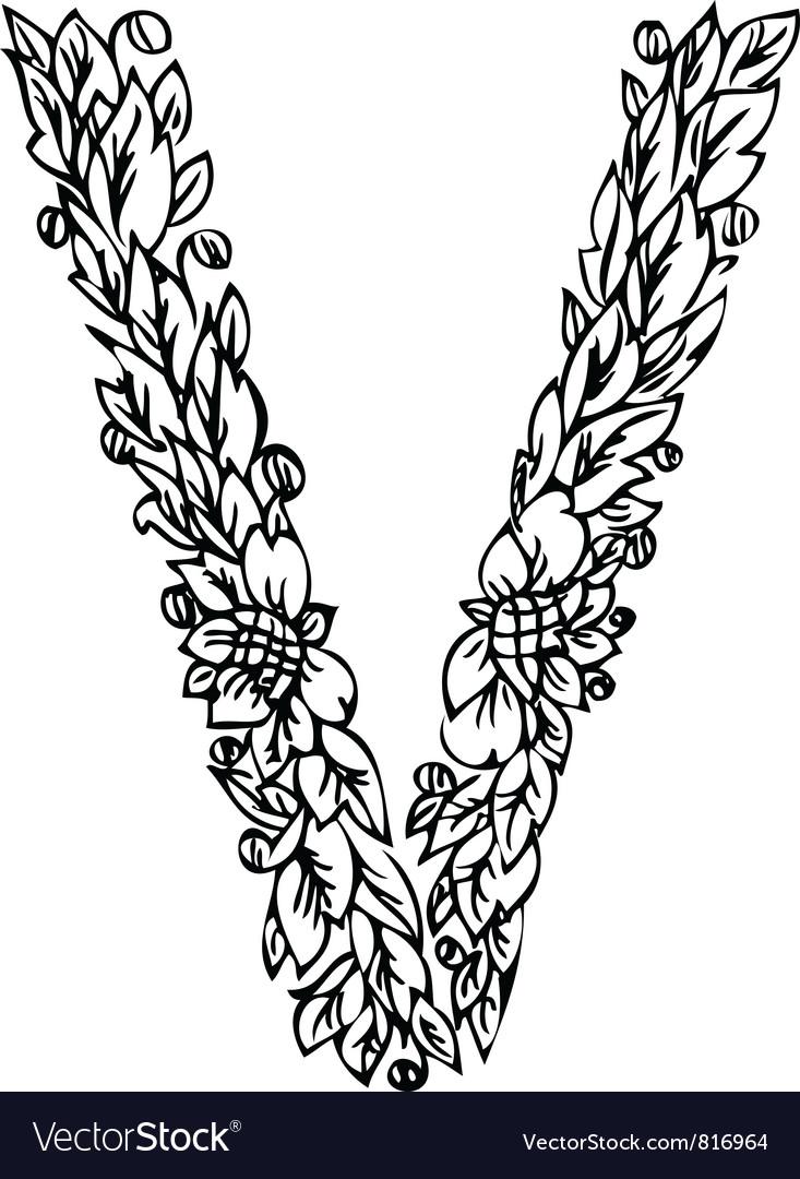 Letters floral v vector