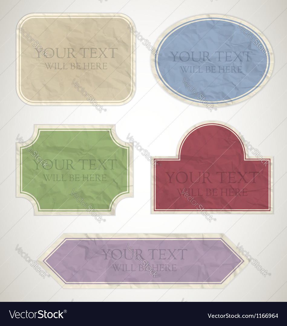 Vintage labels paper vector