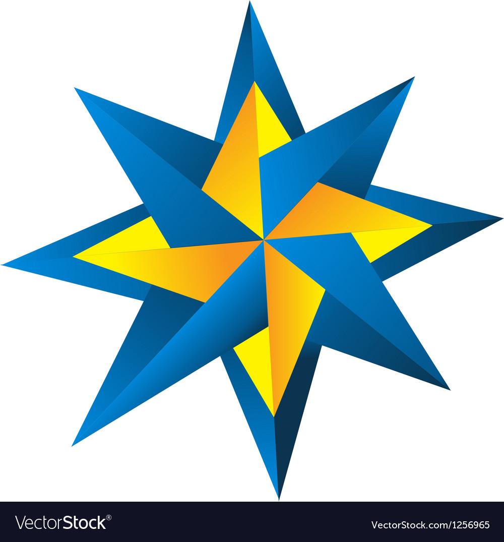 Compass rose blue-orange vector