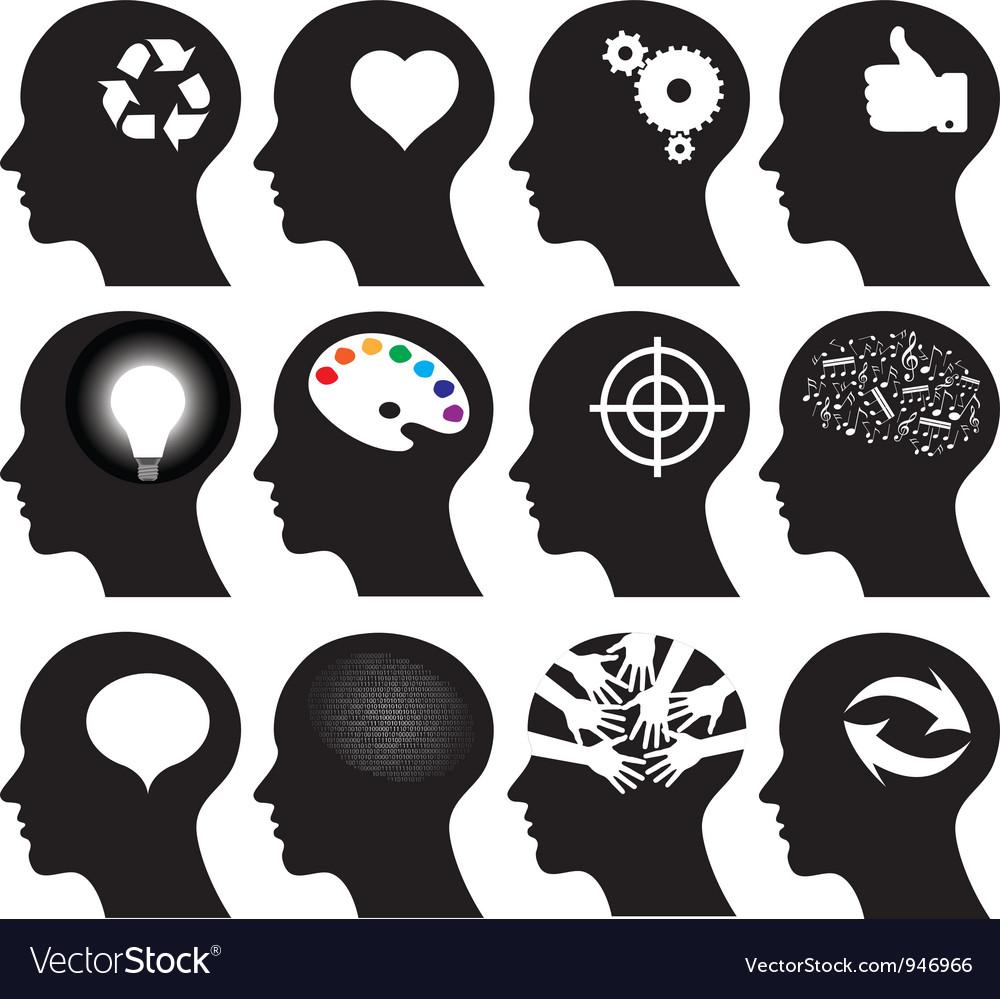12 head icons vector