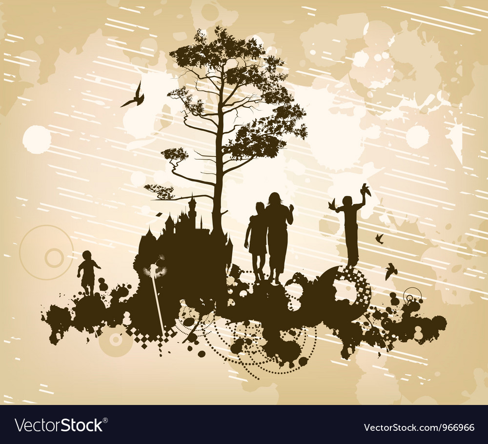 Family castle concept background vector