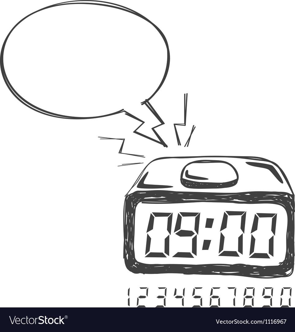 Digital clock bubble speech vector