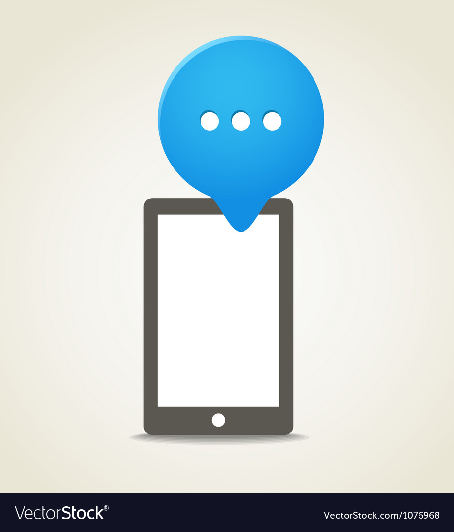 Modern mobile phone with a blue speech cloud vector