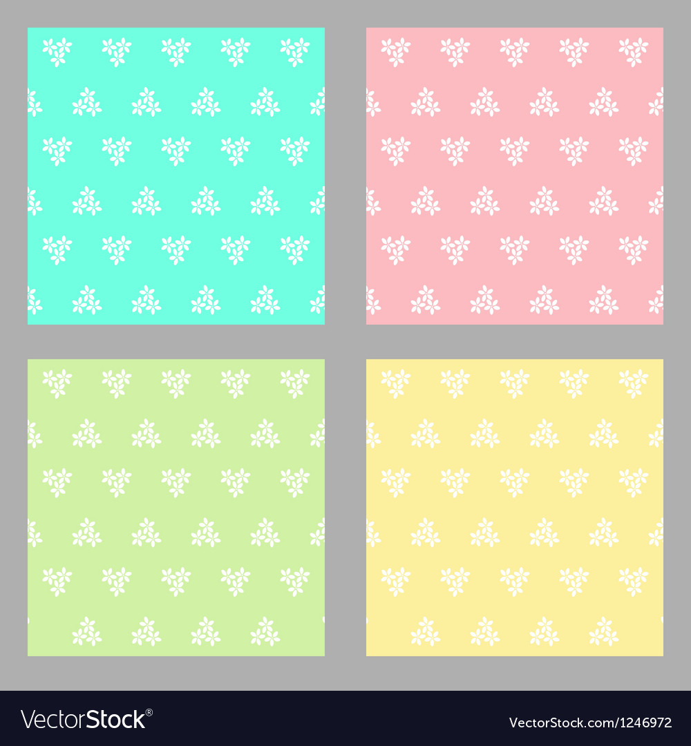 Set of four seamless flower background vector