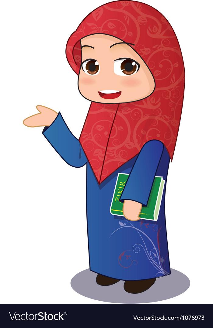Free muslim girl chibi vector