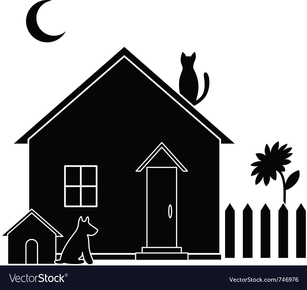 Small house silhouette vector