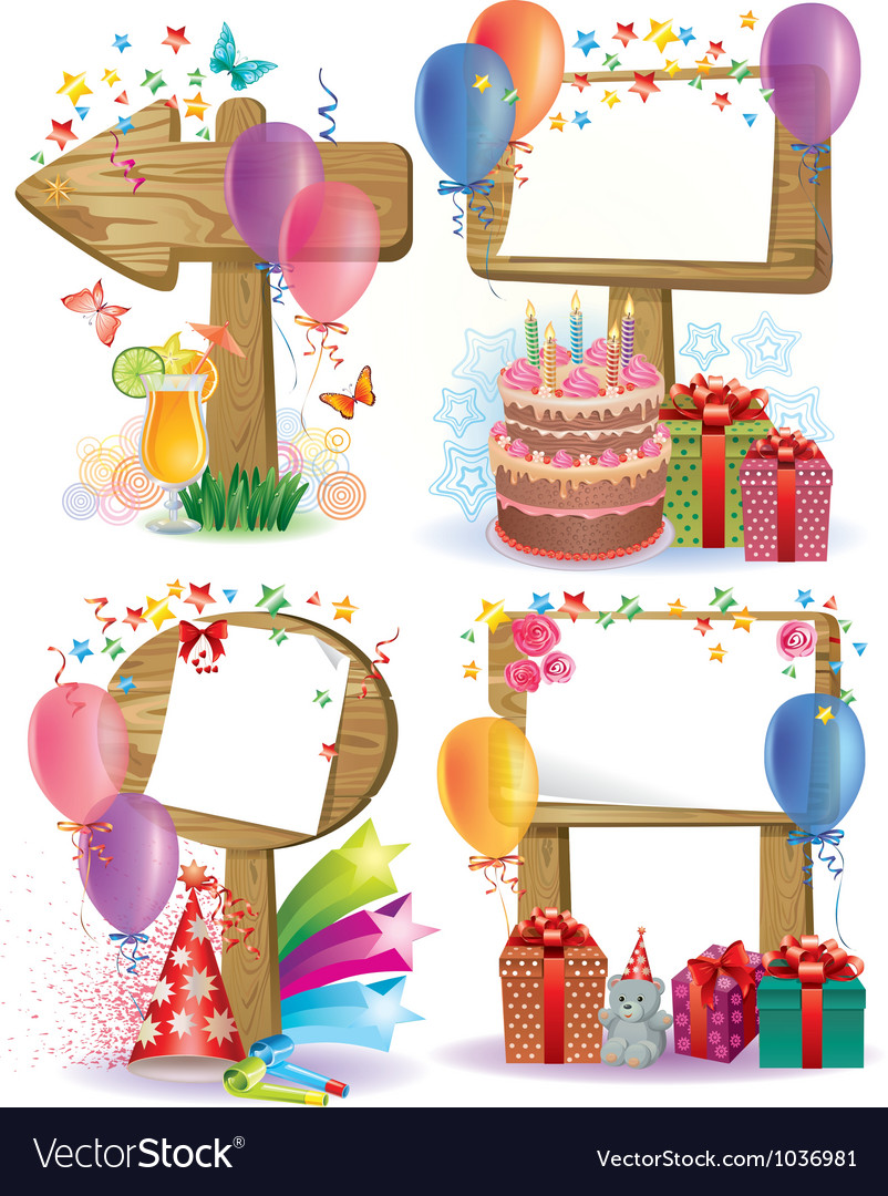 Birthday wooden sign vector