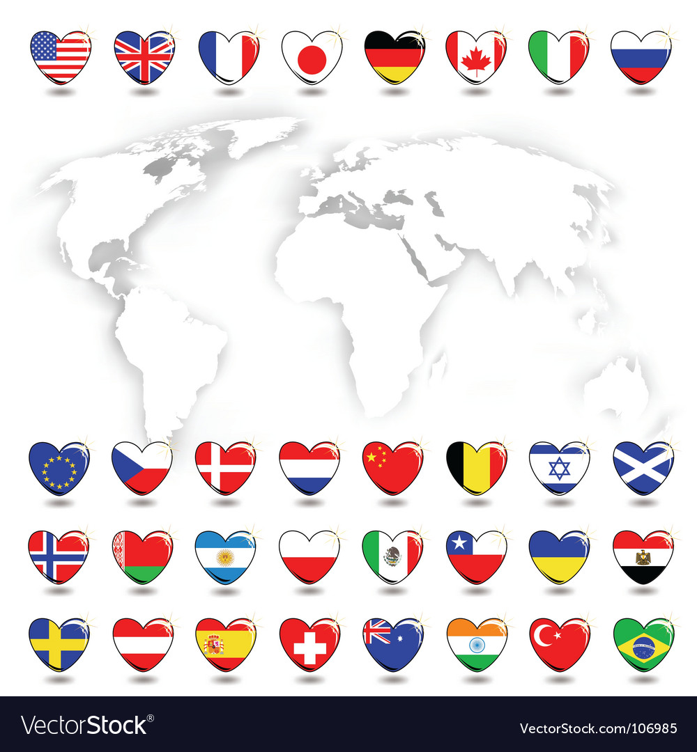 Map ans flags vector
