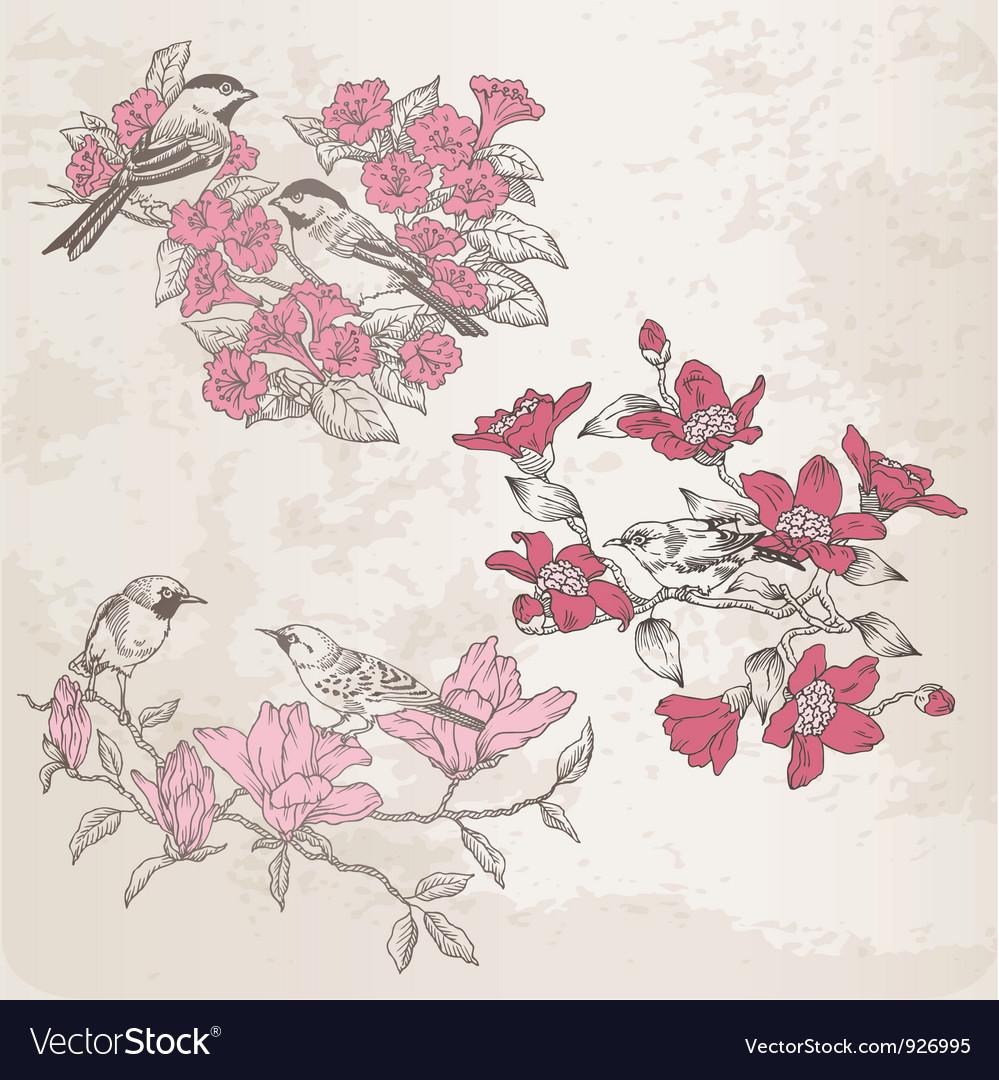 Retro - flowers and birds vector