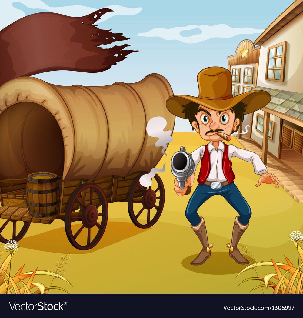 A man holding a gun beside a carriage with a flag vector