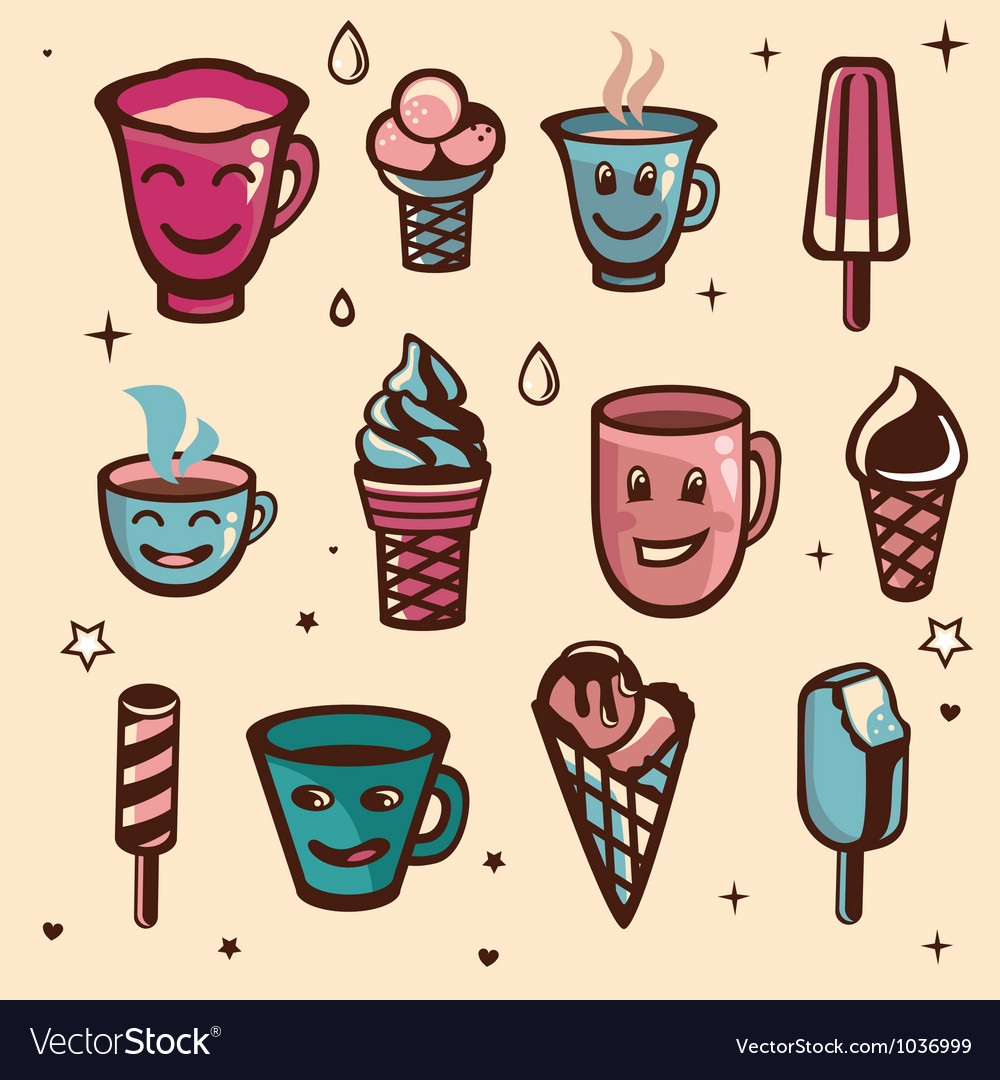 Set with ice cream and cups vector