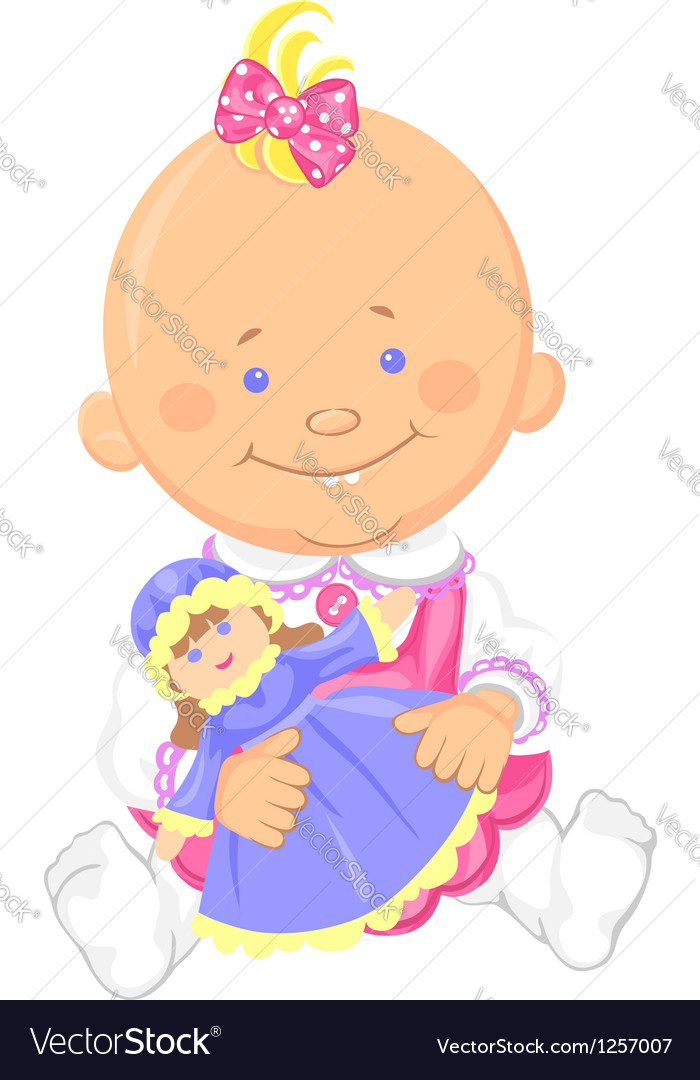 Cute baby girl playing with a toy doll vector
