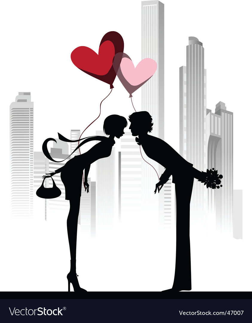 Kissing couple above the city vector